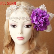 Hand Made Lace Gauze Mask Flower Hair Band Bride Vintage Face Mask Hair Accessory Evening Party Formal Flower Headbands FG0128(China)
