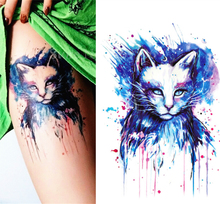 Beautiful Blue Cat High Quality Decals Body Art Decal Waterproof Paper temporary tattoos stickers 21x15cm#30