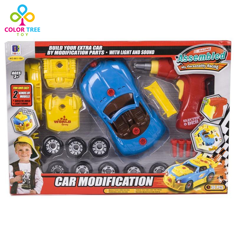 Kids Assembled Racing Car Toy -30 Pieces with Electric Drill Lights and Sounds Birthday Gifts For Boy(China (Mainland))