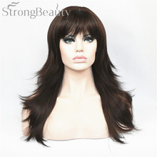 Strong Beauty Synthetic Hair Natural Blonde Black Brown Long Wavy Women Wigs(China)