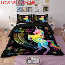 LOVINSUNSHINE Cartoon Unicorn Bedding Set Cute Duvet Cover Set For Kids Children Quilt Cover Set Queen King Size AU01*(China)