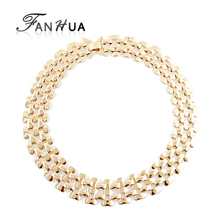FANHUA Hot Sale Rock Style Silver Color Bronze Color Gold-Color Chain Necklace Fashion Designer Wholesale Jewelry(China)