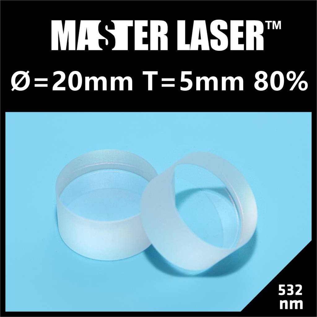 Dia 20mm Thick 5mm T=80% 532nm Partial Reflect Mirror for YAG  Machine Reflect Mirror<br>