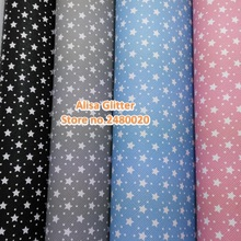 8PCS 21x30cm Alisa Glitter Faux Leather Fabric Printed Dots Printed Stars Leather Pu leather Fabric For Bow DIY Wallpaper GM068(China)