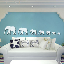 [Fundecor ] new sale 7 pcs 3d elephant mirror wall stickers for kids rooms wall decor art decals diy decorative mirrors(China)