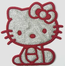 FREE SHIPPING - Red Hello Kitty Iron On Patches Cloth Hat T Shirt Jean shoes Jacket Pet Clothing Silvery Gifts(China)
