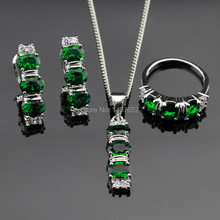 Green Created Emerald Silver Color Jewelry Sets For Women Pendant/Necklace/Hoop Earrings/Rings Free Gift Box Made in China
