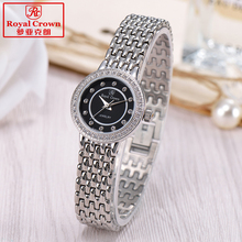 Royal crown Women's Watch Japan Quartz Hours Fine Fashion Dress Jewelry Bracelet Band Luxury Rhinestones Girl Birthday Gift Box