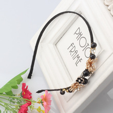 M MISM Fashion Crystal Acrylic Bead Headband Accessories Decorated Flowers Hair Bands Girls Rhinestone Headwear Pearl Hair Hoop