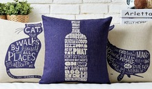 Cat Letters Blue White Porcelain Bottle Elegant Massager Pillow Decorative Throw Pillows War Warm Home Euro Art Painting Gift