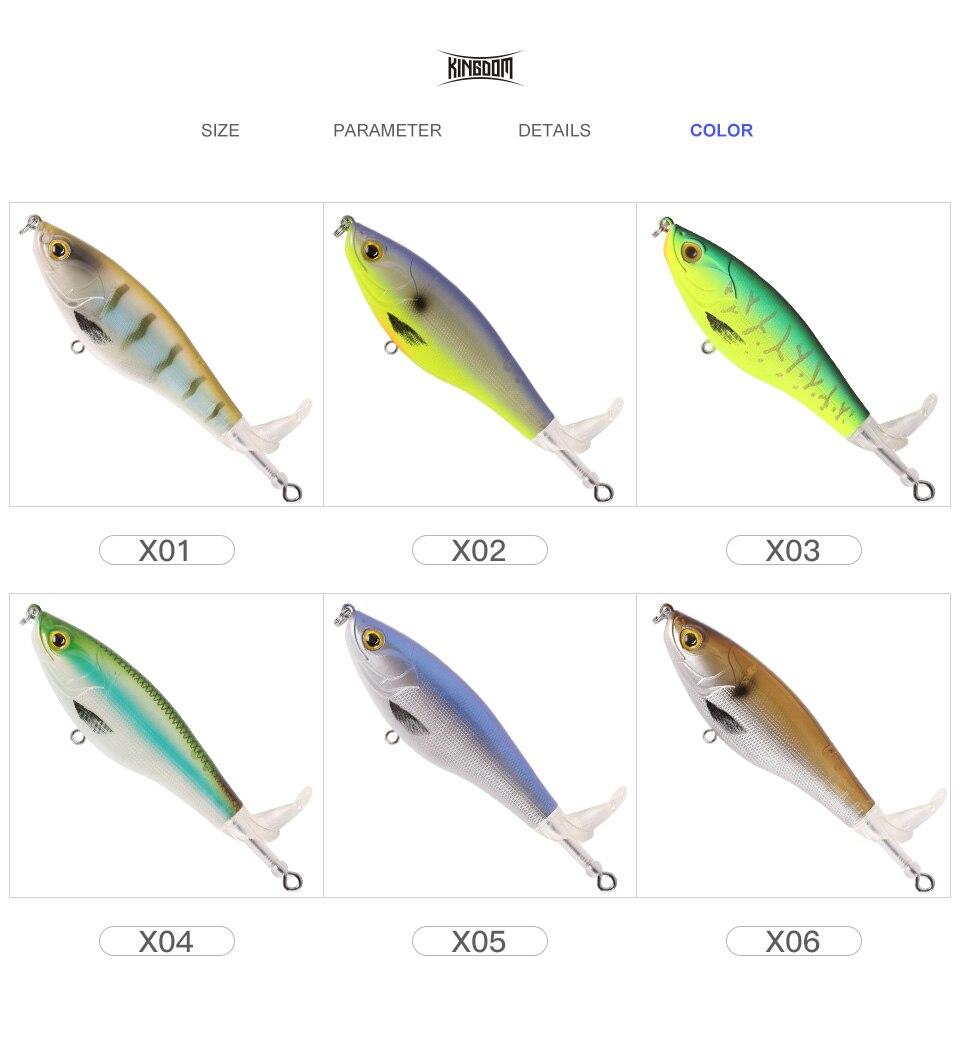 Kingdom 2019 New Whopper Plopper Fishing Lure 10cm 12cm Topwater Hard Baits Popper Soft Rotating Tail Wobblers Artificial Bait (9)