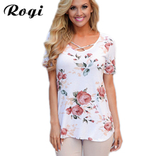 Rogi Summer Tops Tee Shirt Women Fashion Criss Cross V Neck Short Sleeve Floral Blouses Casual Short Sleeve Womens Tunics Blusas(China)