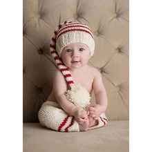Newborn Crochet Knitted Pattern Red - White Stripe Baby Beanies and Pants Set Baby Sweater Costume Infant Photo Props