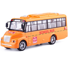 2017 New Pull-back Action School Bus Diecast Metal Car Model Toy With Light Metal Mini Toy Vehicles For Kids Collection Gift Toy