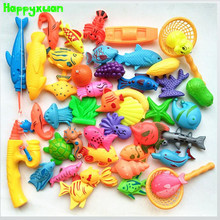 Happyxuan 45pcs Set Plastic Magnetic Fishing Toys Game Kids 2 Poles 2 Nets 37 Magnet Fish 4 fruits Indoor Outdoor Fun Baby