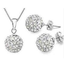 Fashion 925 Colour women Jewelry white 10mm ball Earrings Pendant Necklace Jewelry Set(China)