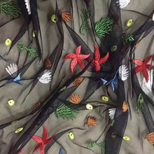 3 yards Black Mesh Couture Fashion Fabric Vogue Embroidery Colorful Starfish Sew Skirt Dress Craft