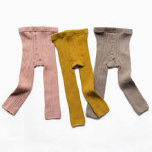 Cotton Knitted Baby Pants Skinny Baby Girl Leggings Ankle-length Flexible Warmer Kids Pants Spring Autumn Children 0-3Y(China)