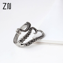 Cool top quality Titanium steel Gothic Deep sea squid Octopus finger ring fashion jewelry opened Adjustable size