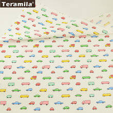 Teramila Fabric Cartoon Colorful Transportation Style 100% Cotton Soft Tissue Patchwork Quilting Textile DIY Baby Sewing Tela(China)