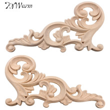 Kiwarm Vintage 20*10cm Wood Carved Corner Onlay Applique Frame Furniture Wall Unpainted For Home Cabinet Door Decoration Crafts