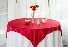 10pcs 85*85'' Satin Table Overlay Cloth Square Wedding Party Supply Sheer New Colors FREE SHIPPING