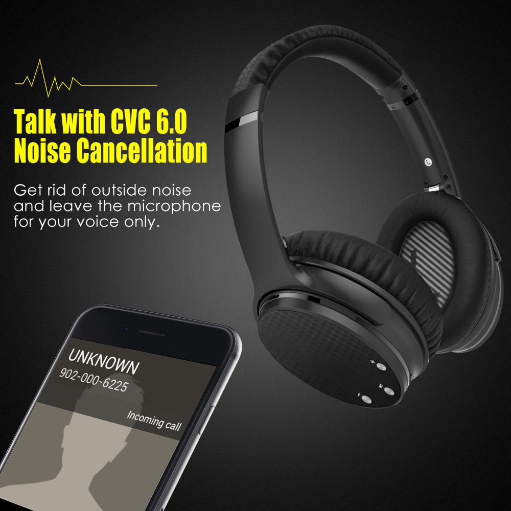 Wonstart Active Noise Cancelling Sport Wireless Bluetooth Headphones ANC Over-ear Headphone Hi-Fi Stereo Headset iphone
