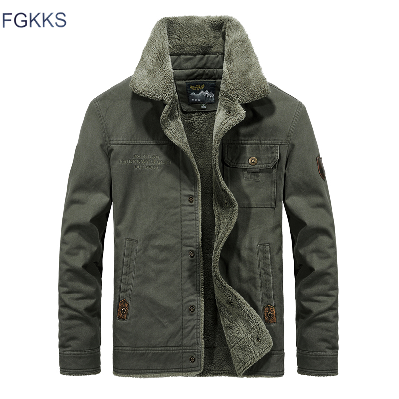 FGKKS Men Bomber Jacket Air Force MA1 Coat Winter Male Jacket Warm fur collar Lining Fleece Jacket Mens Jacket Outwear M-6XL