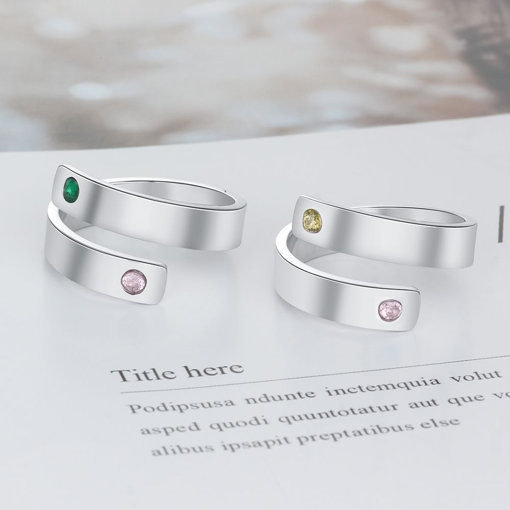Engraved Personalized Birthstone Ring
