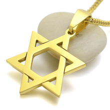 18KGP Gold Tone Stainless Steel Jewish Star Of David Charm Pendant Necklace 24 inch Curb Chain(China)