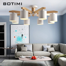 BOTIMI LED Chandelier For Living Room Wood Lustre E27 Chandelier Lighting With Lampshades Dining Table Chandeliers Kitchen Lamps(China)