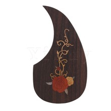 Yibuy Inlay Sticker Decals Rose Pattern Wood Guitar Pickguard Scratchplate with Double-Sided Adhesive for 40-41Inch Wood Guitar(China)