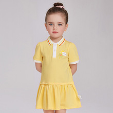 New Brand 2017 Summer High Quality Baby Girl Polo Button T-shirt Cute Ice Cream Yellow Tennis Dress for Toddler 1-6T Kids