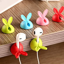 4pcs/set Cable Clip Tidy Wired Drop Lead USB Charger Rabbit Shape Cable Cord Holder Wire Winder Organizer for Earphone(China)