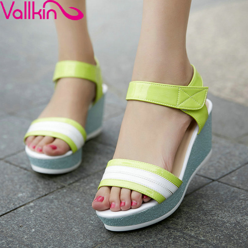VALLKIN Size 34-39 Hook&amp;Loop PU Leather Shoes  Women Sandals Mixed Color Wedge High Heel Women Pumps Fashion Green Summer Shoes<br><br>Aliexpress