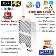 Intel Core i3 5Gen 5005U Broadwell Barebone NUC PC Fanless HDMI Thin Client Intel HM97 HD5500 4K HTPC Mini Computer Windows 10