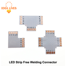 RGBW LED Strip Connector 5pin 12mm L Shape / T Shape / X Shape PCB Connector 5pcs/lot