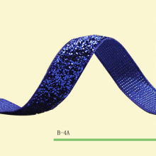 "Glitter Ribbon Elastic 3/8"" Blue Stretch Velvet Glitter Ribbon Price Negotiated(China)"