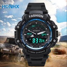 HONOX Men's Rubber Silicone Led Watch LED Digital Clock Men Sporting Goods Waterproof Diving Wrist Watch Relogio Masculino 2017(China)