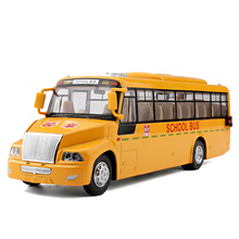 Alloy Diecast School Bus Transporter Student Truck Pull Back Action Light&Sound Shuttle Bus Vehicle Model Kids Hobby Toys(China)