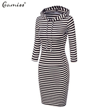 Gamiss Fashion Women Striped Hoody Hoodie Dress Hooded with Pockets Autumn Winter Wear Bodycon Woman Pencil Dress vestidos