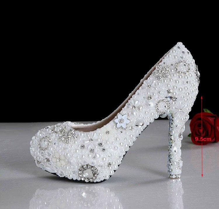 2016 Handmade White Color 9.5cm High Heel Shoes Imitation Pearl Rhinestone Shoes Wedding Dress Shoes Bridal Shoes Gorgeous<br><br>Aliexpress