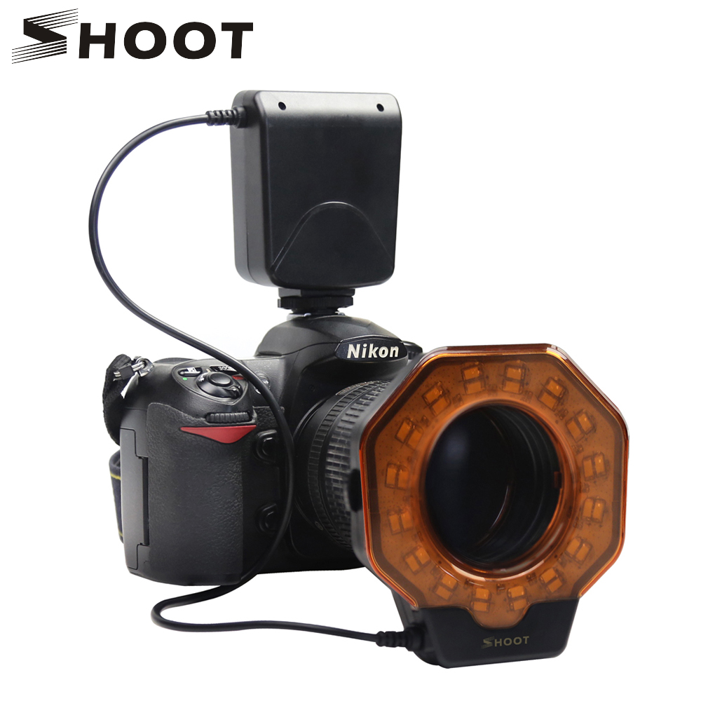 SHOOT Macro Led Ring Light Flash Speedlite with Adapter ring for Nikon D5100 D3100 Series Canon 5D Mark II 7D 10D Olympus Camera(China)
