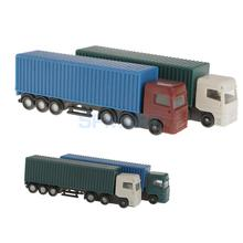 2Pcs Model Container Truck Figure 1:150 N Scale Building Scenery Layout(China)