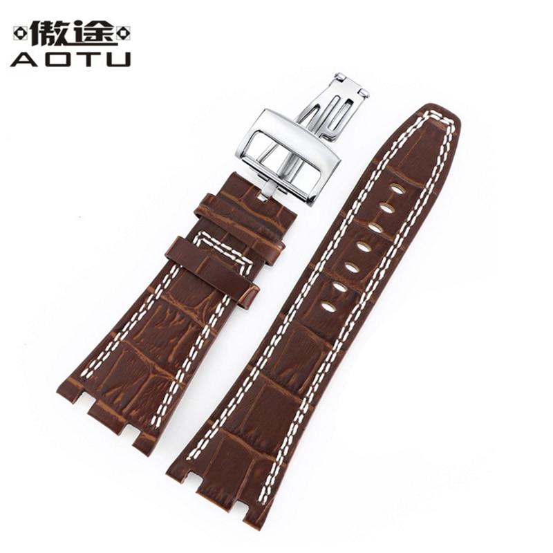 Genuine Leather Watchbands For Audemars Piguet Men 28MM Watch Straps Women Clock Belt For AP Leather Watch Band Correa Reloj De<br>