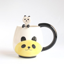 Hand-painted Coffee Cup,Cartoon Lovely Chinese Panda/Frog/Cat/Pig Ceramic Mug Tea cup include spoon(China)