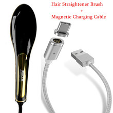 100% Original NASV Fast Straightener Brush With LCD Display Hair Straightening Comb With Magnetic Charging Cable USB Data Cable(China)