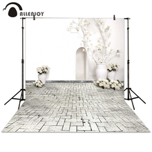 Allenjoy photography backdrop vase bonsai brick flower wall white wedding background photocall photographic photo studio