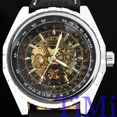 Mens Watch Automatic Skeleton Mechanical Black Number<br><br>Aliexpress