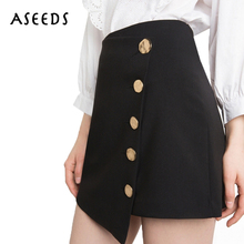 Buy 2017 fashion autumn mini skirt black asymmetry skirts button womens high waist pencil skirt new solid ladies empire line skirt for $11.99 in AliExpress store